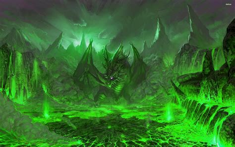Green Dragon In The Volcano Wallpaper