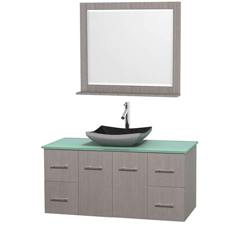 Green Vanity Top by Wyndham Collection Centra 48 In Vanity In Gray Oak With