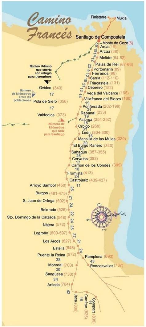 camino de compostela map santiago camino de santiago and espa 241 a on