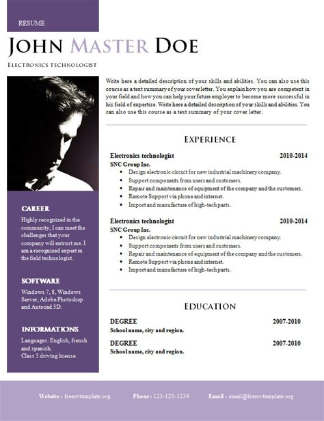 Creative Design Resume Doc Format 820 825 Free Cv Template Dot Org