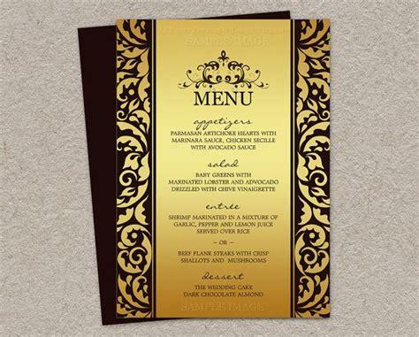 elegant wedding menu cards printable elegant wedding menu