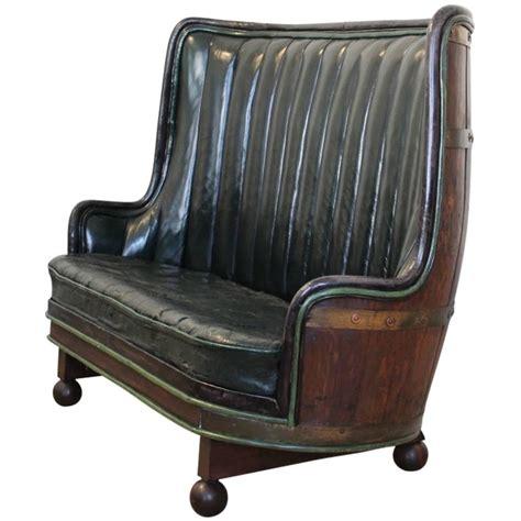 Circa 1930s Spanish Oak Barrel Sofa In Leather At 1stdibs
