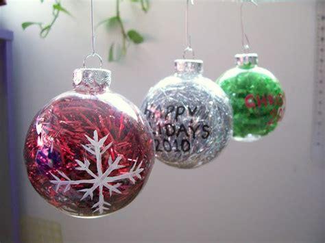 clear glass  plastic ornaments dollar store shiny tinsel  cute christmas stuff