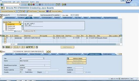 does table deliver me23n gt line item gt delivery address tab in sap abap