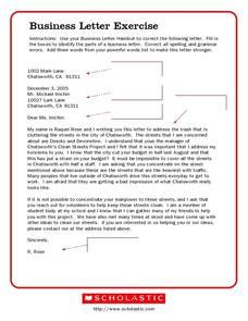Business Letter Format Exercise Worksheet Business Letter Exercise 6th 9th Grade Worksheet