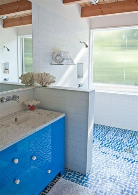 blue  white bathroom floor tile ideas  pictures
