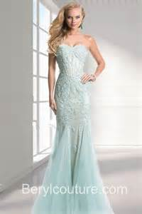 elegant mermaid strapless light blue tulle applique long