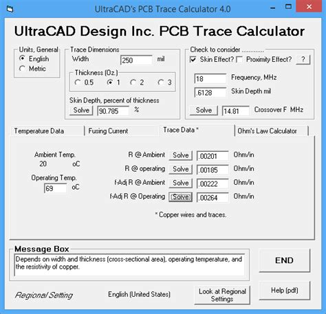 ultracad bypass capacitor impedance calculator ultracad design pcb3 trace current temperature calculator with skin effect including ipc 2152