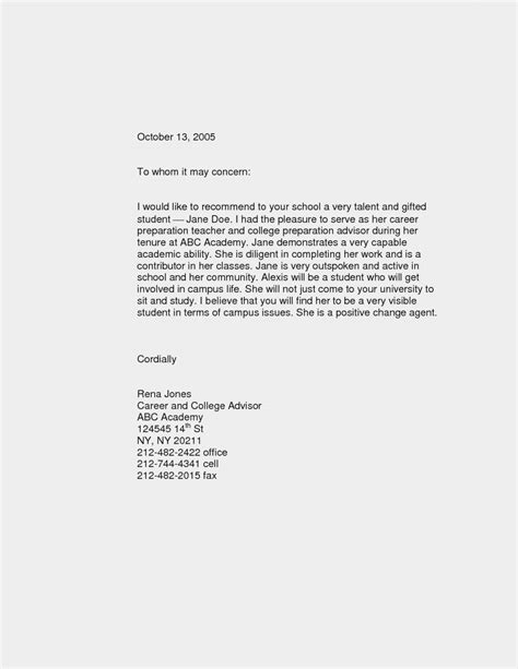 Student Letter Of Recommendation Template Letter Of Recommendation Template For Studentmemo