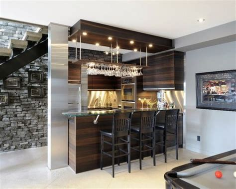 simple home bar design ideas placed under the staircase