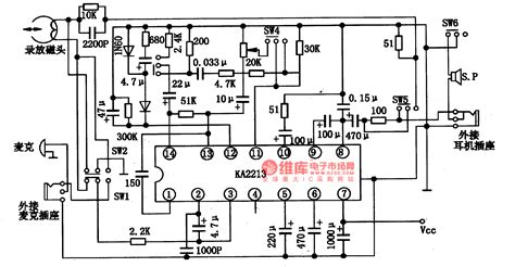 simple diagram of integrated circuit ka2213 single chip sound recorder or reproducer integrated circuit diagram basic circuit