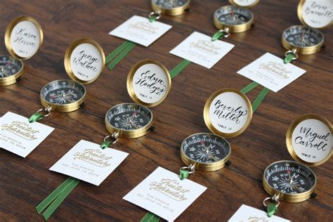do it yourself theme wedding favors find your seat diy compass cards for a travel themed wedding beau coup