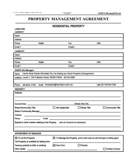 landlords property management agreement template property management agreement free copy rental lease