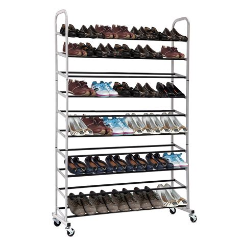 rolling shoe storage 2nd generation 10 tier free standing 50 pairs rolling shoe