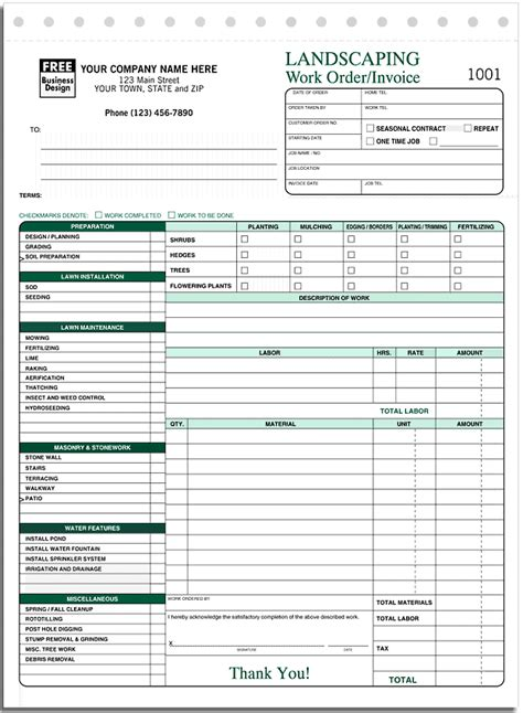 landscape invoice template ans systems manual forms landscape landscaping work
