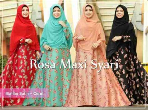 Gamis Longdress Terusan Panjang Muslim Fazzel Set gamis syari rosa satin a059 busana muslim modern