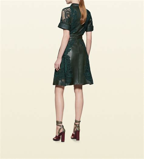 Dress Golocase lyst gucci leather dress with broderie anglaise detail in green