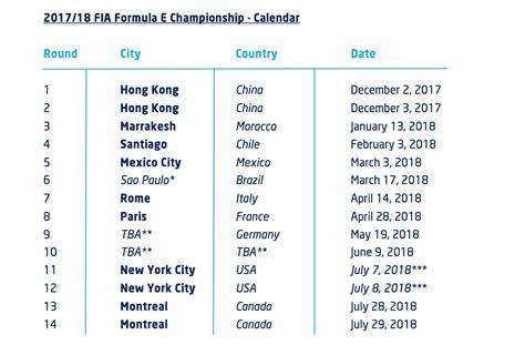Calendrier E Formule Formula E Le Calendrier 2017 2018 Est Officiel