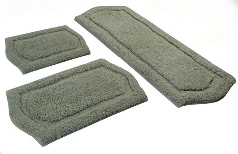 3 Piece Paradise Memory Foam Bath Rug Set In Sage Uvcm43261 Memory Foam Bathroom Rug Set
