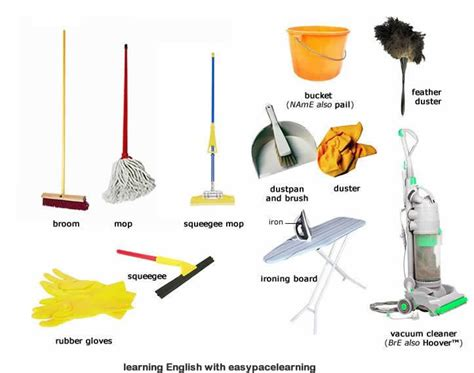 cleaning equipment learning the vocabulary