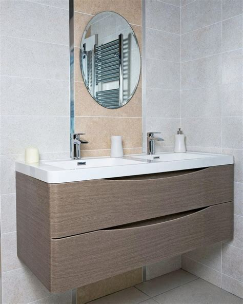 M S Bathroom Furniture Motiv 1200 Wall Mounted Basin Vanity Unit Grey Elm
