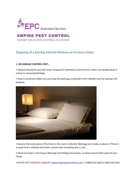 ppt disposing of a bed bug infested mattressor furniture