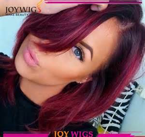 reddish burgundy hair color lace front human hair wigs 2015 fashion bleached knots 1b