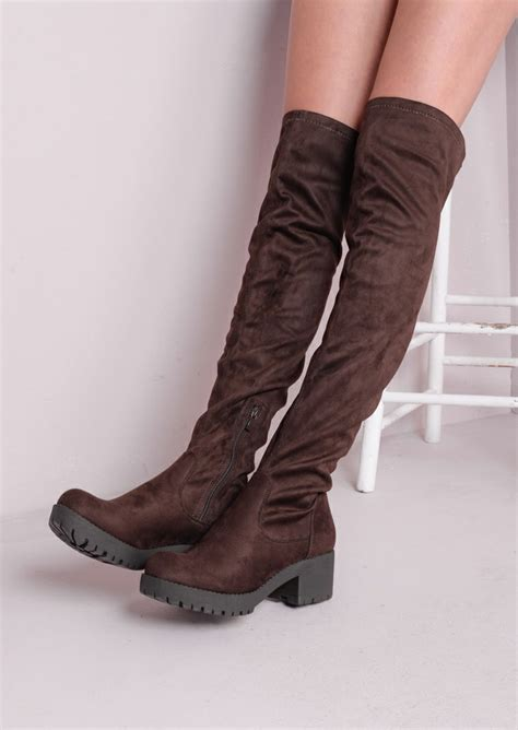knee high chunky flat faux suede boots brown