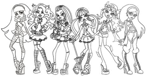free coloring pages of group all monster high