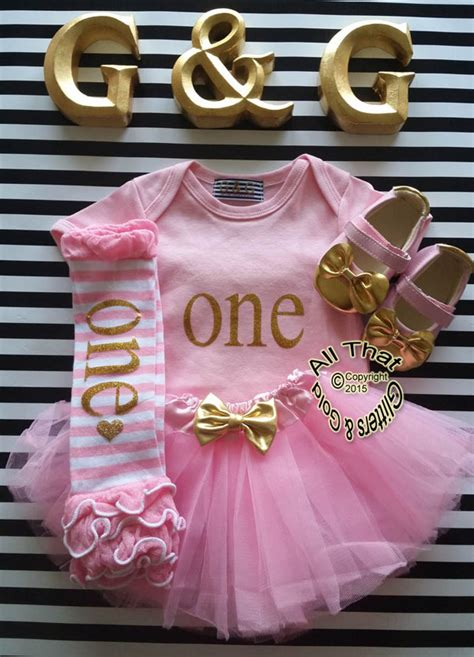 cute gold st birthday outfits  pink  gold