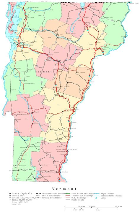 road map of vt vermont printable map