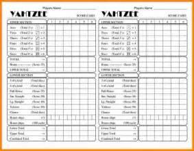 6 yahtzee score card printable mileage tracker form