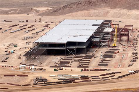 tesla factory tesla gigafactory new photos show progress on battery