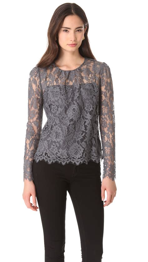 Blouse Lace Grey grey lace blouse fashion ql