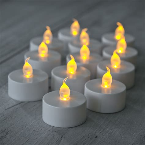 12 Pack Of Flickering Led Battery Operated Tea Lights Battery Lights Uk