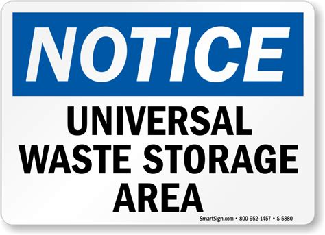 universal waste storage area osha notice sign free