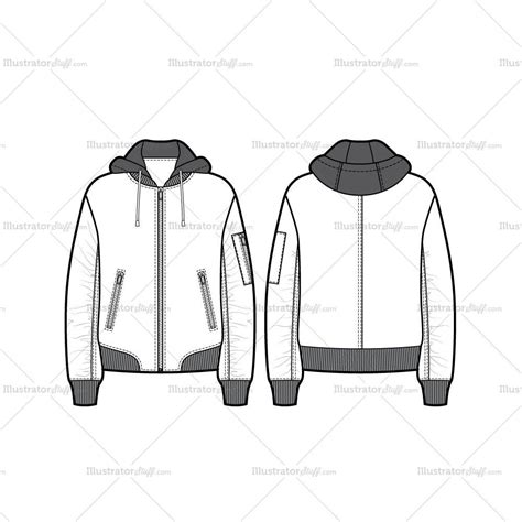 bomber jacket template unisex hooded bomber jacket flat template illustrator stuff