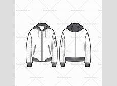 Unisex Hooded Bomber Jacket Flat Template – Illustrator Stuff Fashion Illustration Templates Men