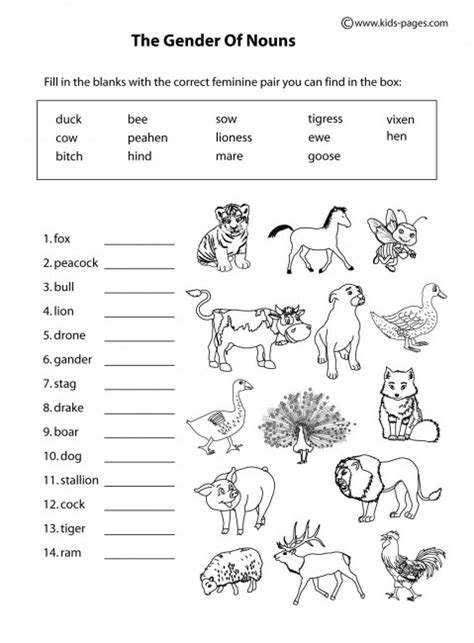 printable worksheets animals animals gender b w worksheet