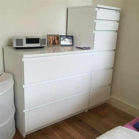 ikea malm chest  drawers wmirror lid white   london