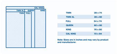 Mattress size chart and mattress dimensions sleep train