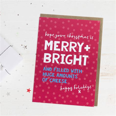 fun christmas card merry  bright  paperpaper notonthehighstreetcom