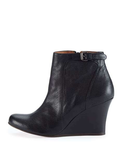 lanvin leather wedge ankle boot black