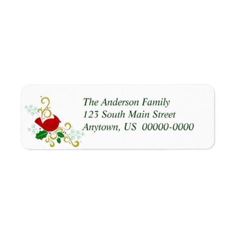 avery printable christmas address labels christmas cardinal avery return address label zazzle
