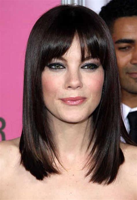 shoulder length haircuts bangs round face haircut long medium length hair cuts for women with