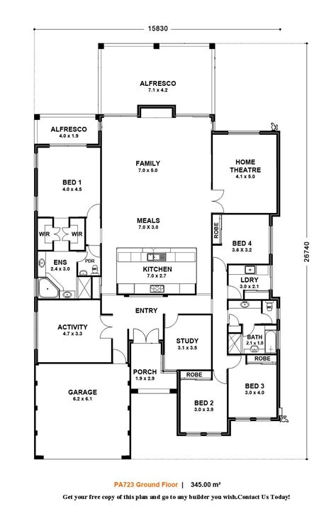 floor plan for one story house single story small house floor plans