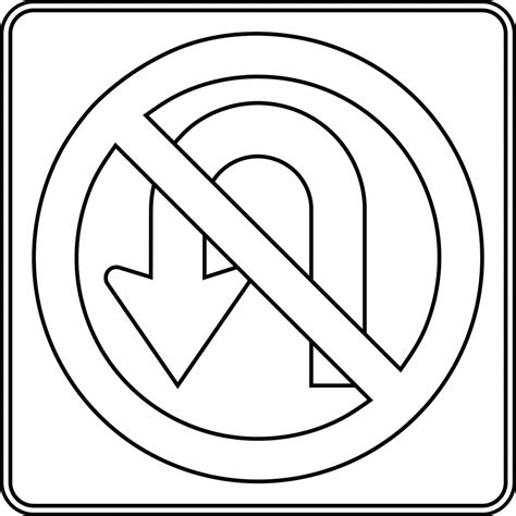 Road Sign Outlines by No U Turn Outline Clipart Etc
