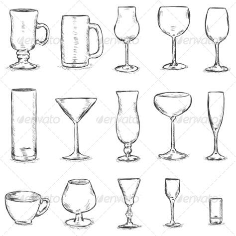 types of barware vector set of sketch stemware by nikiteev graphicriver