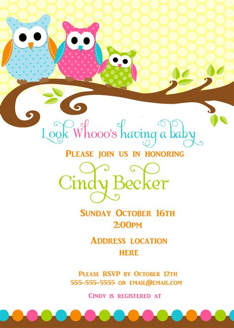owl themed baby shower invitation template brilliant owl themed baby shower invitation template 4