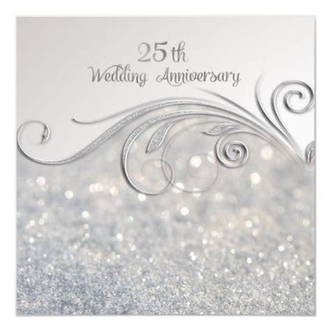 sparkle silver 25th wedding anniversary card zazzle